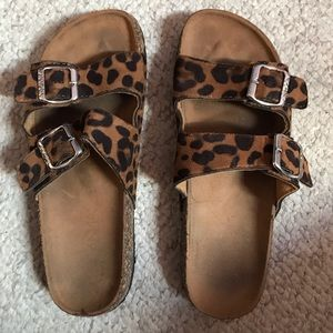 Shoes - Women's leopard suede sandals size 8 EUC